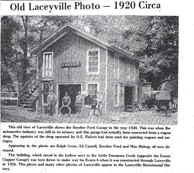 Beecher Ford Garage Laceyville 1920